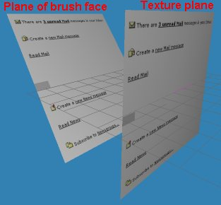 The texture plane (on the right) 'flattened' onto the actual face (left) - notice how it gets stretched on the face.