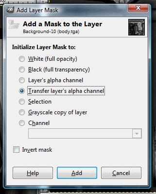 "Select ""Transger Image Alpha Channel""."