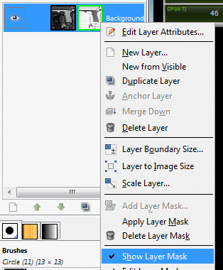 "Deselect ""Show Layer Mask"""