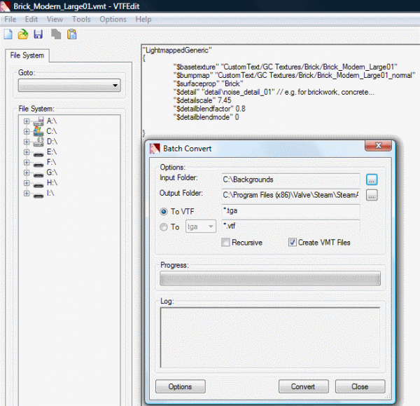 A screen shot of a VMT file in the editor and the Batch Converter.