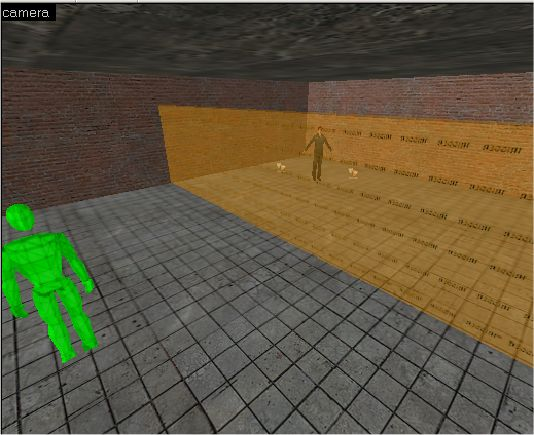 A basic square room with an entity and a trigger