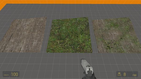 Note how the use of two surfaceprop values allows the applied grass/moss to act like grass, while the wood still has wood decals and sounds.