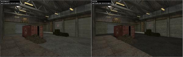 A before and after shot of using detailed textures