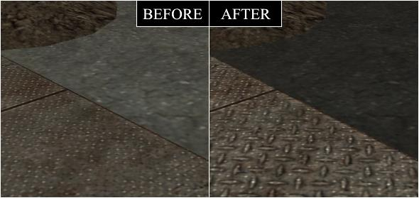 Metal is lighter than the concrete because of detailed textures